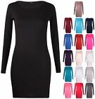 Womens New Long Sleeve Ladies Stretch Bodycon Plain Dress Long Tunic T-Shirt Top