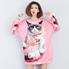 New Spring Plus Size Women's Pink Long Sleeves Cute Cat Tops Blouse Oversize