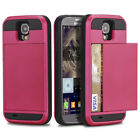 Hybrid Dual Layer Armor Case Slide Wallet Cover for Samsung Galaxy S4 I9500