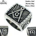 STAINLESS STEEL MEN'S MASONIC RING HEAVY DUTY THICK BAND  BRAND NEW STR# 458