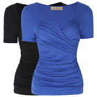 Fashion Womens Summer Casual Short Sleeve Ruched Cotton T-Shirt Tops Blouse Tee