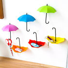 3Pcs Removable Umbrella Shaped Sticky Hooks Holder Key Hangers Rack Wall Decor