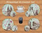 SHABBY CHIC CITY MOUSEMAT & COASTER SET GIFT SET PERSONALISED FREE OF CHARGE