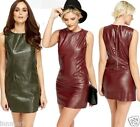 589 Womens Bodycon Crocodile Leather Look Zip Clubbing Party Mini Dress S/8 M/10