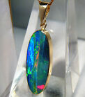 *NEO* 11.7cts AUSTRALIAN Opal inlay on black boulder 14k solid gold pendant 70