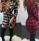 Hot Sale Plus Size Women Long Sleeve Bodycon Deep V-neck Mini Dress Tops Blouse