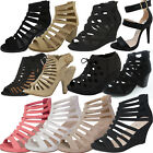NEW CAGED Open toe Gladiator High Heel Sandal Strappy Ankle Block Wedge Platform