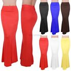 WOMEN SOLID MULTI COLOR FOLDOVER JERSEY RAYON ELASTIC WAIST SLIM LONG MAXI SKIRT