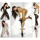 Womens Metallic Catsuit Zipper Romper Bodysuit Clubwear Leotard Jumpsuit Costume