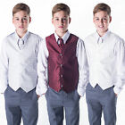 Boys Suits Waistcoat Suit Page Boy Silver Wine Ivory, Baby to 12 Years 4pc Suit