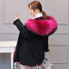 Real Fur Collar Hooded Parka Fox Lined Outwear Winter Jacket Coats Warm Womens