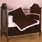 Unisex Baby Cradle Bedding Ruffle Reversible Bumpers Set Solid Colors