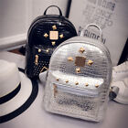 Fashion Women's Casual Backpack Travel Leather Rivet Shoulder Rucksack Bags