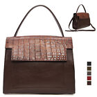 WOMEN'S HANDBAG DESSEN COMBI FLAP TOTE SHOULDER BAG PURSE REAL COWHIDE LEATHER