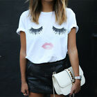 Fashion Women Summer Loose T-shirt Lashes Lips Printed White T-Shirts Tops TeesF