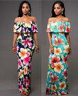 Tropical Women Floral Print Long Summer Off Shoulder Beach Causal Boho Dresses