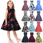 Girls Kids Floral Vintage Style Cocktail Party Evening Retro Pinup Swing Dresses