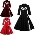 Women Vintage Retro 1950s Swing Pinup Rockabilly Plus Size Causal Party Dress