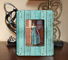 "4""x6"" PHOTO FRAME - TEAL TURQUOISE GLOSSY WOOD ADD TEXT FREE Country Rustic"