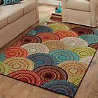 Rainbow Color Bright Dotted Circles Area Rug Olefin Cut Pile Indoor Carpet NEW