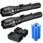 2 Set 9000LM XML T6 Zoomable Tactical LED Flashlight Torch 18650 Battery Charger