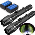 2 Set 9000LM XML T6 Zoomable Tactical LED Flashlight Torch+18650 Battery+Charger