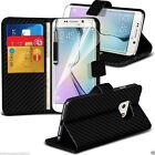 Black Carbon Fibre Quality Leather Executive Book Wallet Phone Custom Case Cover
