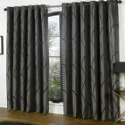 BLACK SILVER ART DECO Curtains Nouveau Vintage style Lined EYELET Ring  66 90
