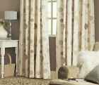 Modern Floral Lined Curtains BEIGE GREEN BROWN CREAM Tape Top 46 66 90 108 PATIO