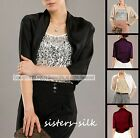 Women's Ladies 100% Pure Silk Charmeuse Bolero Cropped Shrug Jacket Blazers Top