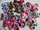 Childrens TV Character Themed Ribbon Double Bow Elastic Hair Bobbles