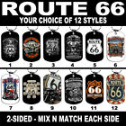 DOG TAG NECKLACE - ROUTE 66 Biker Motorcycle USA America's Highway Freedom Ride