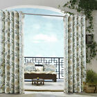 Modern Floral Curtains TEAL GREY CREAM Eyelet  100% Cotton Eyelet Patio Living