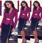 New Women Long Sleeve Office Dress Bodycon Slim Pencil Work Business Party Dress