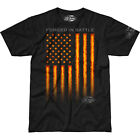 Forged in Battle Men's 7.62 Designs T-Shirt American Freedom Fiery Flag Black