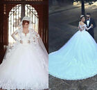 2017 New White/Ivory Long Sleeve Wedding dress Bridal Gown Size 4 6 8 10 12 14 +