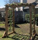 NEW EXTRA LARGE CEDAR WOOD GARDEN ARBOR PERGOLA ARCH - OVER 7 FT TALL, 8 FT WIDE