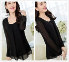 Black Women's Fashion Work Party Casual Loose Long Sleeve Shirt Tops Blouse