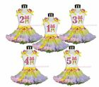 Easter White Top Pink Bow Bunny 1ST 2ND 3RD 4TH Birthday Dot Rainbow Skirt 1-8Y