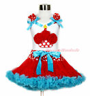 White Top Red Minnie Birthday Cake Girl Red White Dot Waist Red Blue Skirt 1-8Y