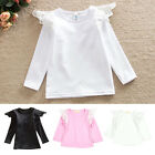 Baby Girls Toddler Kids Soft Lace Wing Long Sleeve T-shirt Tops Blouse S/M/L/XL