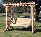 NEW VERY LARGE CEDAR COLONIAL ARBOR & 6 FOOT PORCH SWING WITH HANGING ROPE