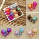 Double sided multi-color Faux Pearl Earrings  image