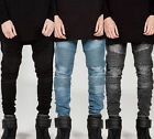 Fashion Classic Men's Slim Fit Straight Biker Jeans Trousers Casual Pants Skinny