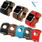 Cuff Genuine Leather Watch Band Strap for Apple Watch iWatch 38/42mm + Adapters