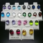 925 Sterling Silver Oval CubicZirconia CZ Birthstone Clear Stud Earrings Pair UK