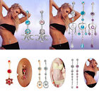 Crystal Flower Tassels Dangle Nvael Ring Body Piercing Jewelry Belly Button Ring
