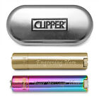 Personalised Engraved Steel Clipper Gas Lighter Gold or Rainbow-Blue Smoker Gift
