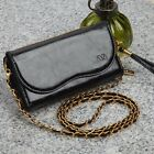 NEW CELL PHONE CASE POUCH WALLET PURSE HANDBAG WITH CROSSBODY STRAP - BLACK