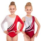 Deluxe 'Eve' Metallic Shiny Red, White with Wave Gymnastic Gym Dance Leotard